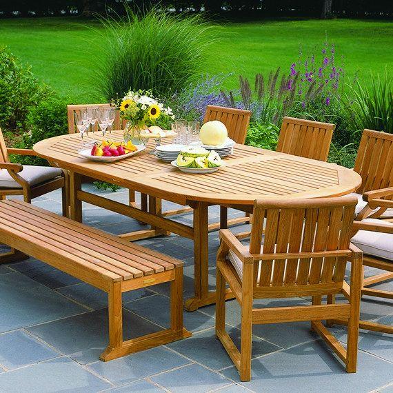 Kingsley Bate Elegant Outdoor Furniture Essex 100 Oval Extending Table With Nantucket