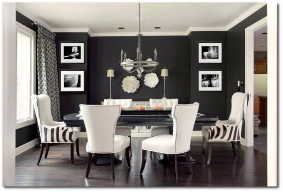 Black And White Wine Photography Print Set Wine Art Winery Etsy In 2021 Black And White Dining Room Black Dining Room White Dining Room Black dining room design ideas