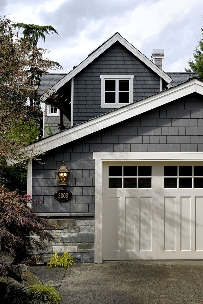 Grey Exterior Paint Color Siding Is Benjamin Moore Kendall Charcoal Trim Paint Color Is Benjamin Moore Navajo White House House Paint Exterior Exterior Gray Paint Exterior House Colors