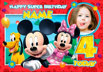 Mickey mouse clubhouse super birthday photo mickey mouse personalised mickey mouse clubhouse birthday card with photo upload mickey mickeymouse minniemouse minnie disney funkypigeon filmwisefo