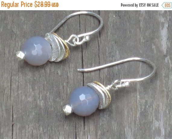 Mad With Sterling Silver Hook Earrings 8mm Grey Agate