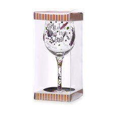 Girls Just Wanna Have Wine Hand Painted Wine Glass by Formation Brands. $15.00. Hand Wash Only. Glass and Paint are Lead Free. Measures Approx: 9 inches x 3 1/2 inches. Girls Just want to Have Wine Glass Goblet. Hand painted. Hand wash only with mild soap, not dishwasher safe.