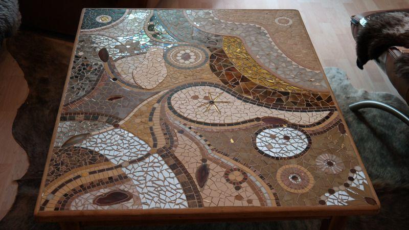 Mosaik - Mosaiktisch Mosaik Couchtisch Antik Handarbeit - ein Designerstück von mosaikwerkstatt bei DaWanda