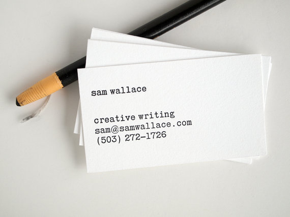 Typewriter Business Cards - Editor Style - Letterpress Black and ...