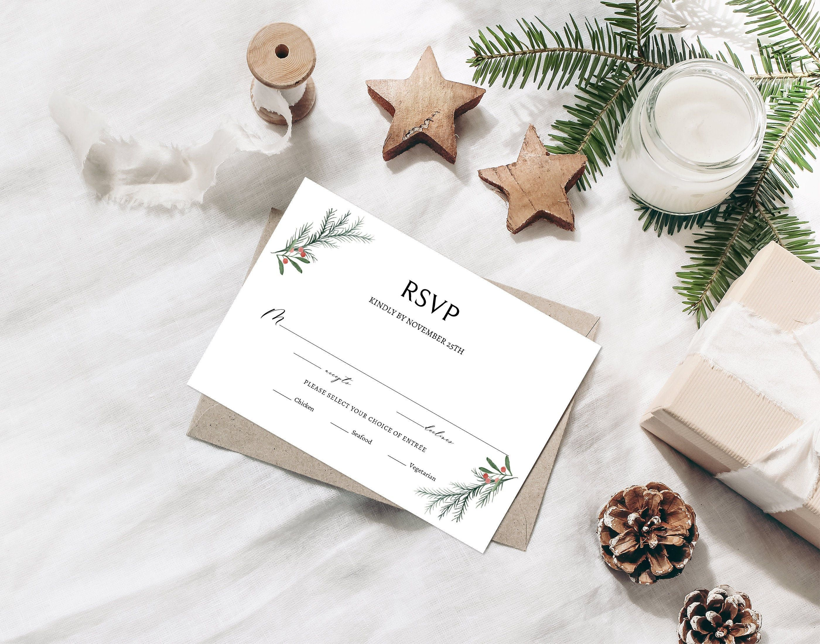 Winter Wedding Rsvp Card Editable Template Christmas Response Card Rustic Reply Card Holid Minimalist Christmas Card Rsvp Wedding Cards Christmas Thank You