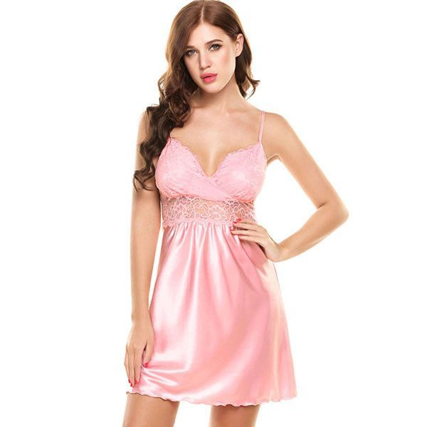 1ff4093a45 Ladies Sexy Silk Satin Night Dress Nightwear Sleeveless V-neck Nightgown  Plus Size Nightdress Lace Sleepwear For Women