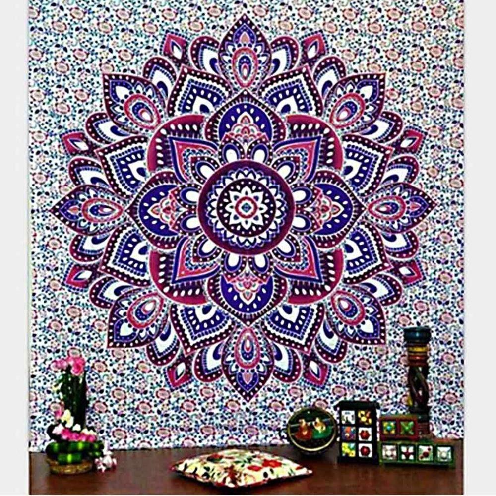 Blue Elephant Rangoli Mandala Tapestry Wall Hanging Indian Dorm Decor