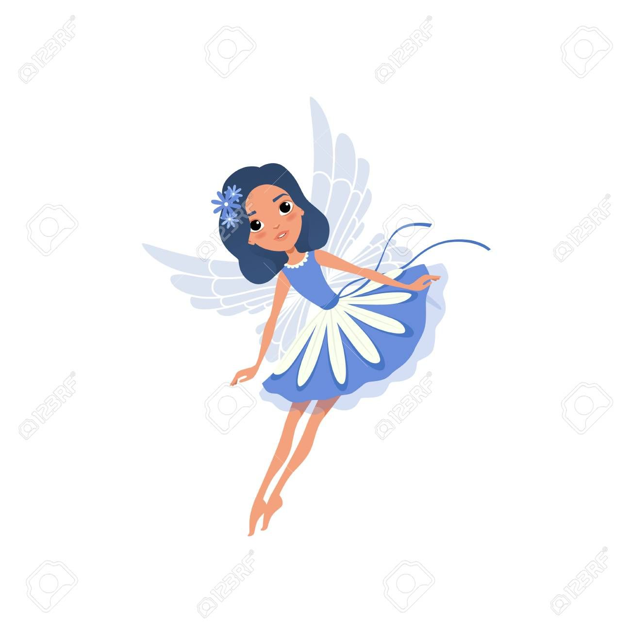 Little pixie in blue fancy dress. Cartoon fairy with magic wings and floral accessories in hair. Cute fairytale character in flying action. Colorful flat vector design isolated on white background. Illustration ,