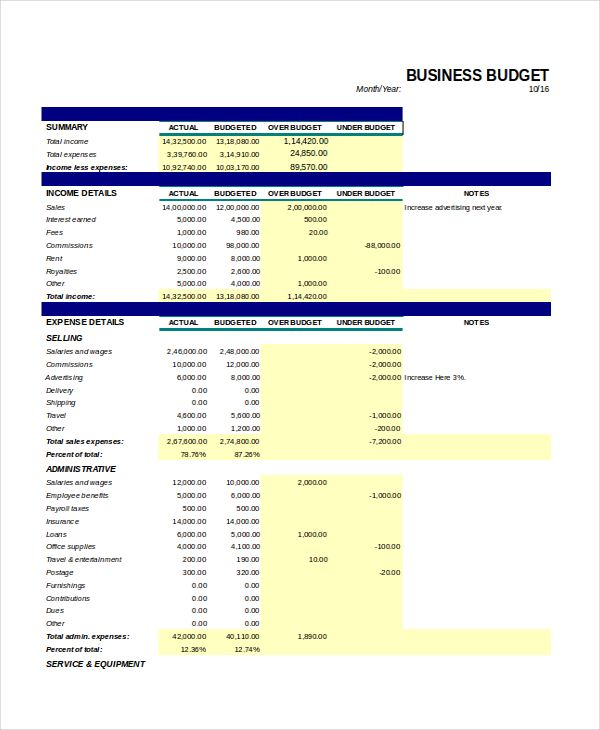 Monthly Business Budget Template  Excel Monthly Budget Template