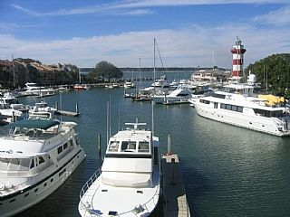 The very popular circular marina and lighthouse at Harbour Town in the Sea Pines Resort on Hilton Head Island.