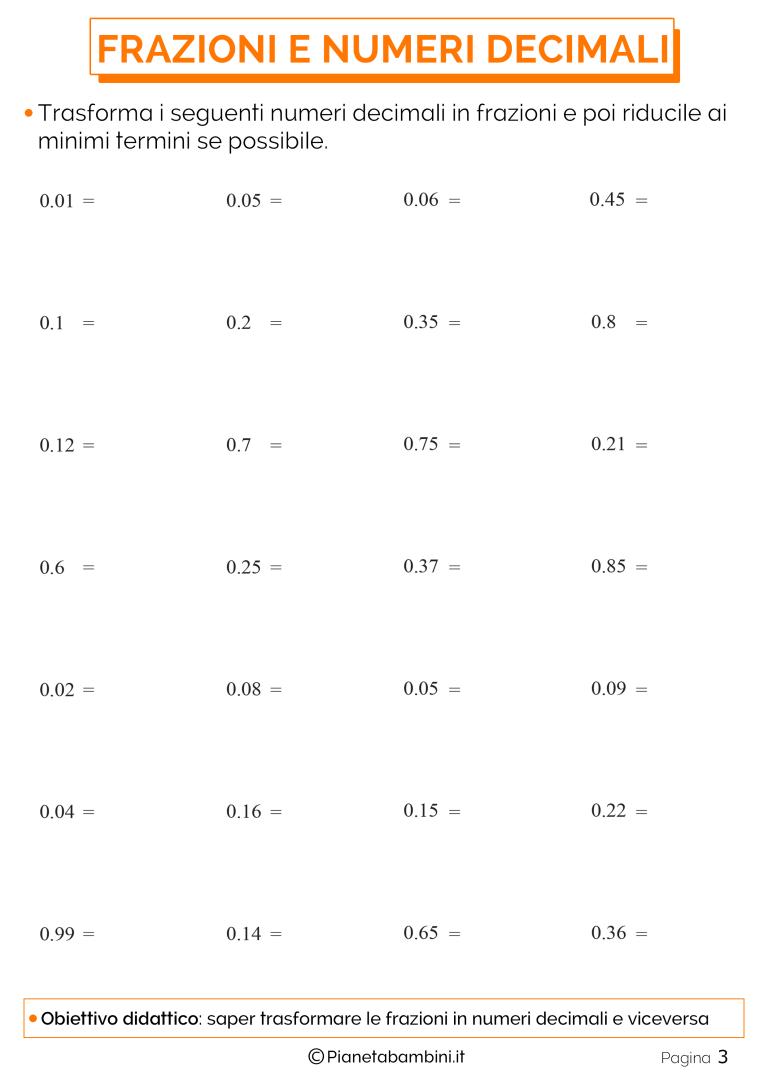 Esercizi sulla Trasformazione tra Frazioni e Numeri ...