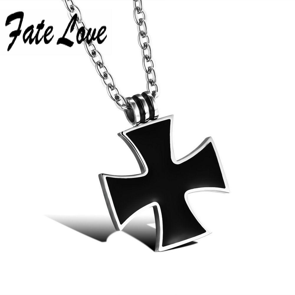 Classic men stainless steel cross pendant resin necklace chain menus