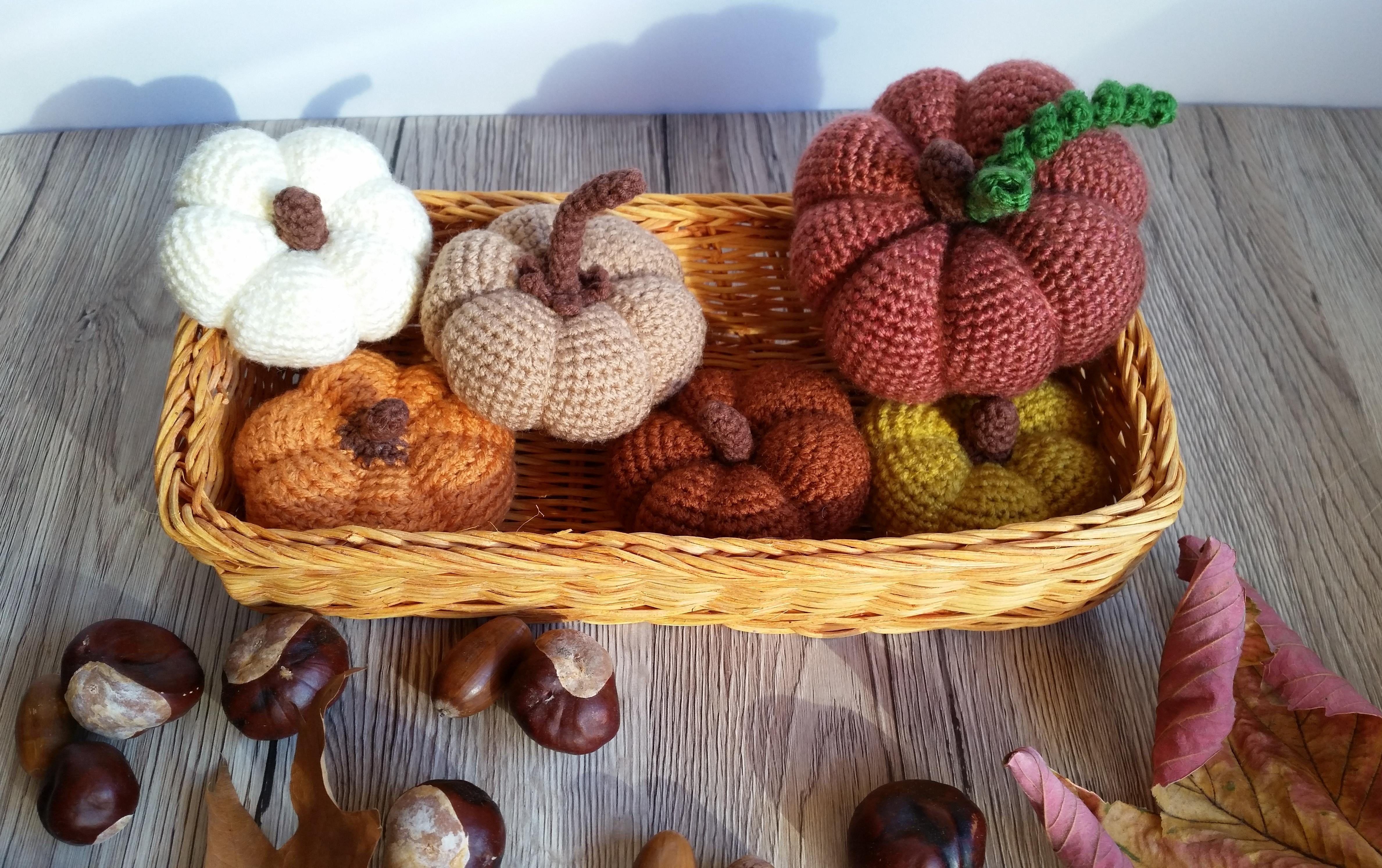 Szydelkowe Dynie Halloween Jesien Ozdoby Home Decor Crochet Pumpkin Rekodzielo Recznie Robione Handmad Decorative Wicker Basket Wicker Baskets Wicker