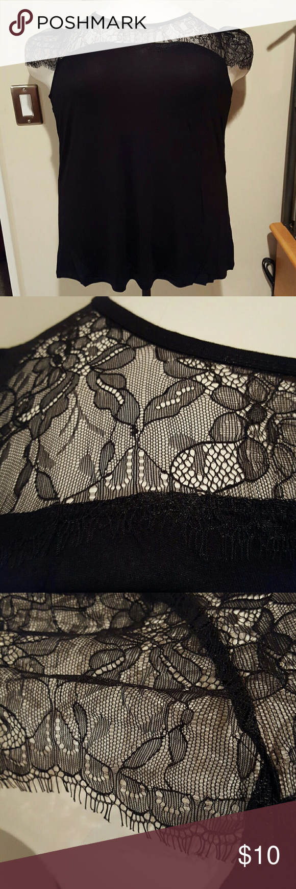 Nicole Richie lace neckline and sleeves top Rayon spandex nylon blend top with cap sleeves. Top has lightweight stretchy material with see-through lace at the neckline to the shoulders and the cap sleeves. The back is solid black. Brand new without tags and never worn. Nicole Richie Tops Tees - Short Sleeve