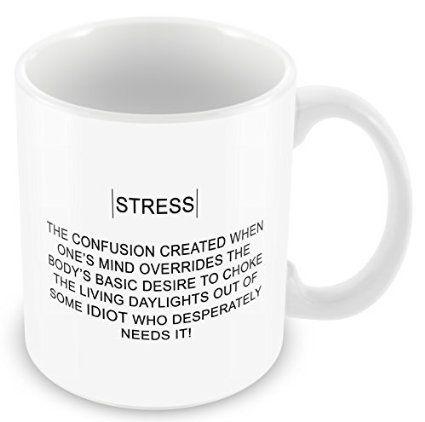 "Funny ""Real Meaning Of Stress"" Novelty Mug: Amazon.co.uk: Kitchen & Home"