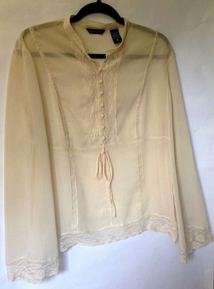 New York   Company Women s Sheer Ivory Lace Button Down Tunic Top Size 16   fashion dae900473