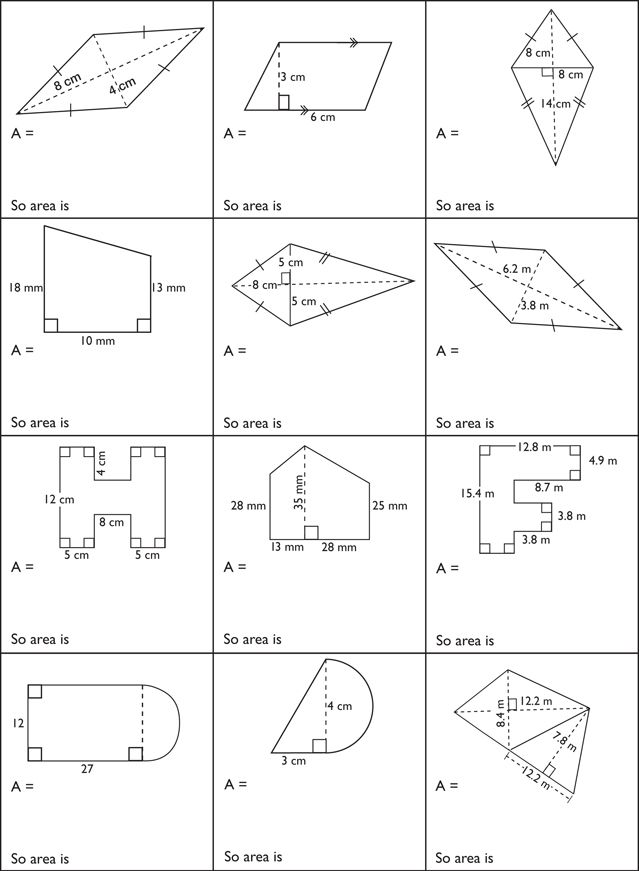 Measurement Surface Area and Volume – Area Compound Shapes Worksheet