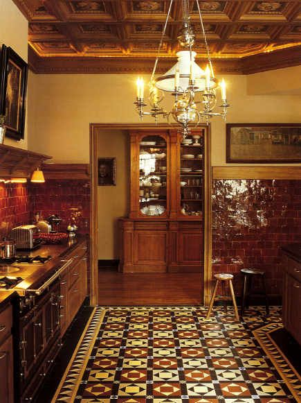 The floor was created from ca 1900 cement tiles by for Victorian kitchen floors