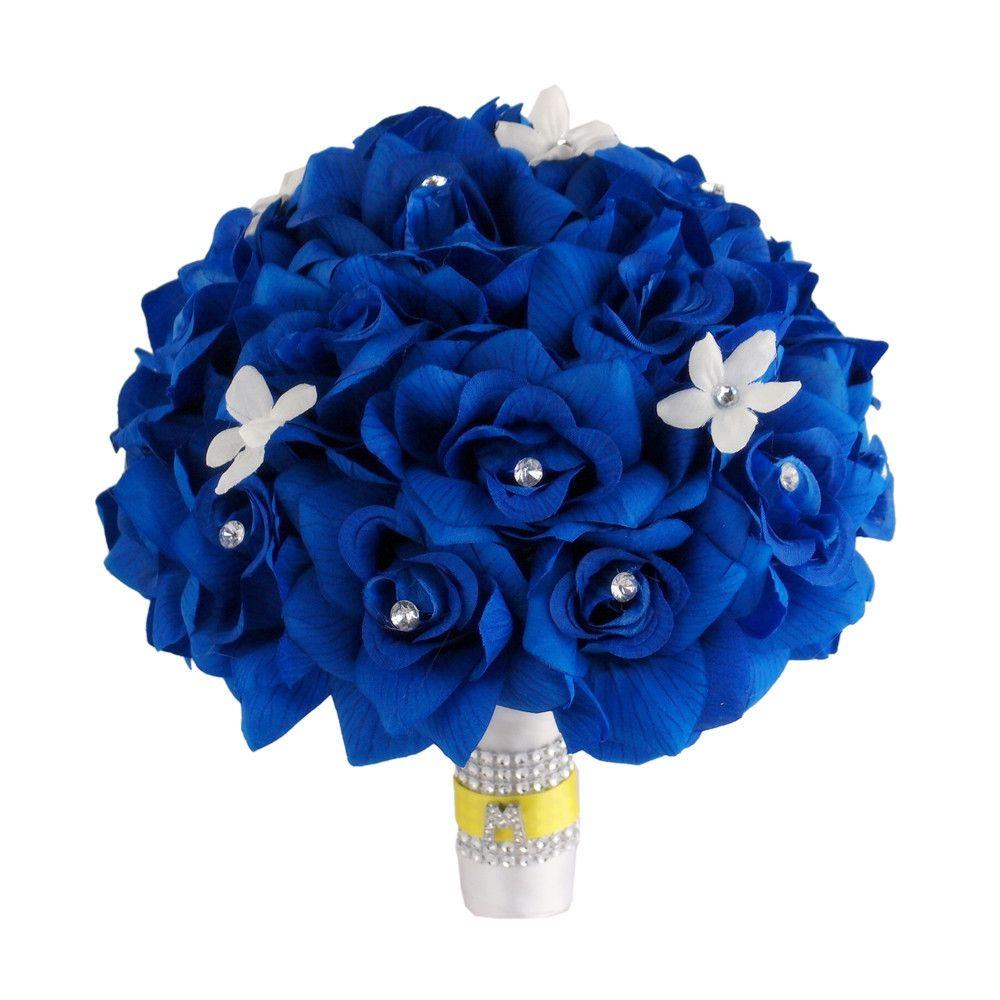 Reserved keepsake wedding package in royal bluewhiteand silver 10 bridal bouquet horizon blue roses with rhinestone and stephanotis initial rhinestone izmirmasajfo
