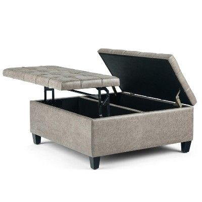 Harrison Coffee Table Storage Ottoman Distressed Gray Taupe