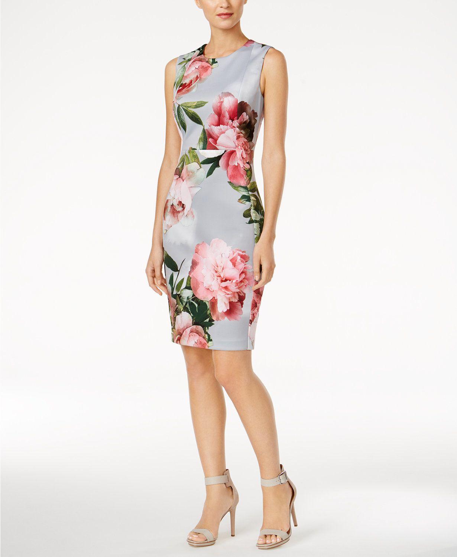 1d6b49e157ea1 Calvin Klein Petite Floral-Print Scuba Sheath Dress | macys.com ...