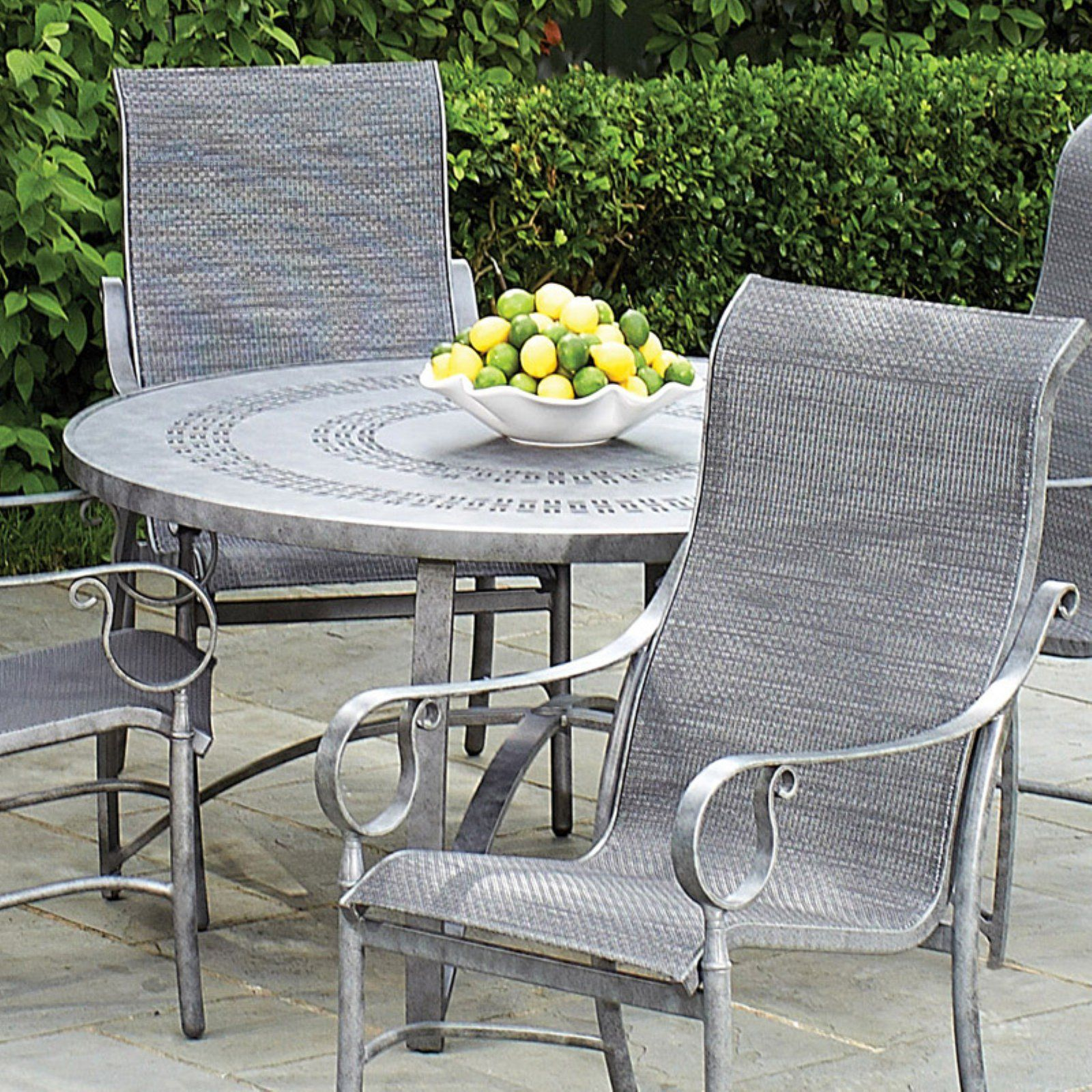 Woodard Aluminum Deluxe 30 In Round Dining Table Trellis In 2020 Patio Dining Table Patio Dining Round Dining Table