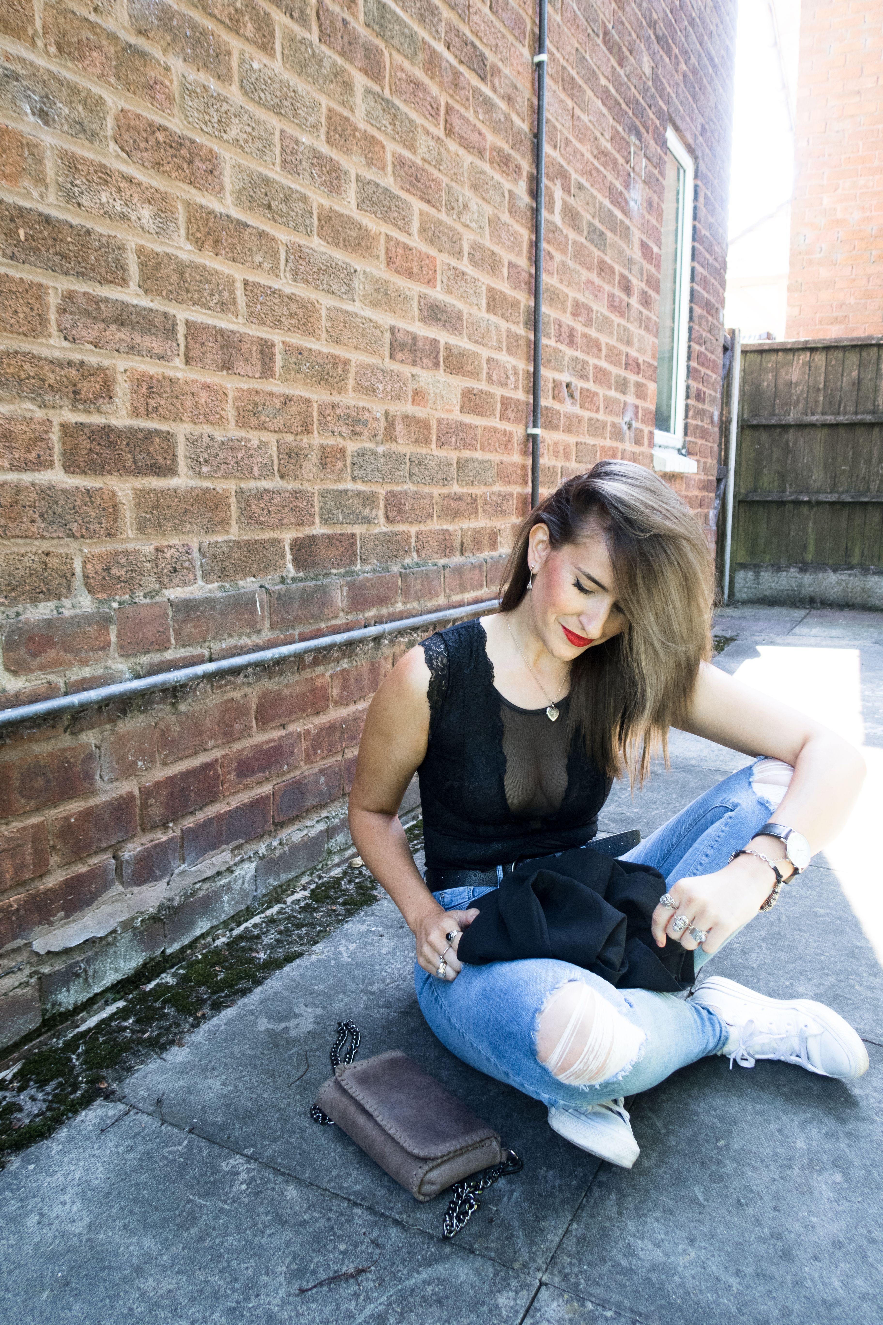 Lace bodysuit and jeans   ways to wear a lace bodysuit in public  Black lace bodysuit