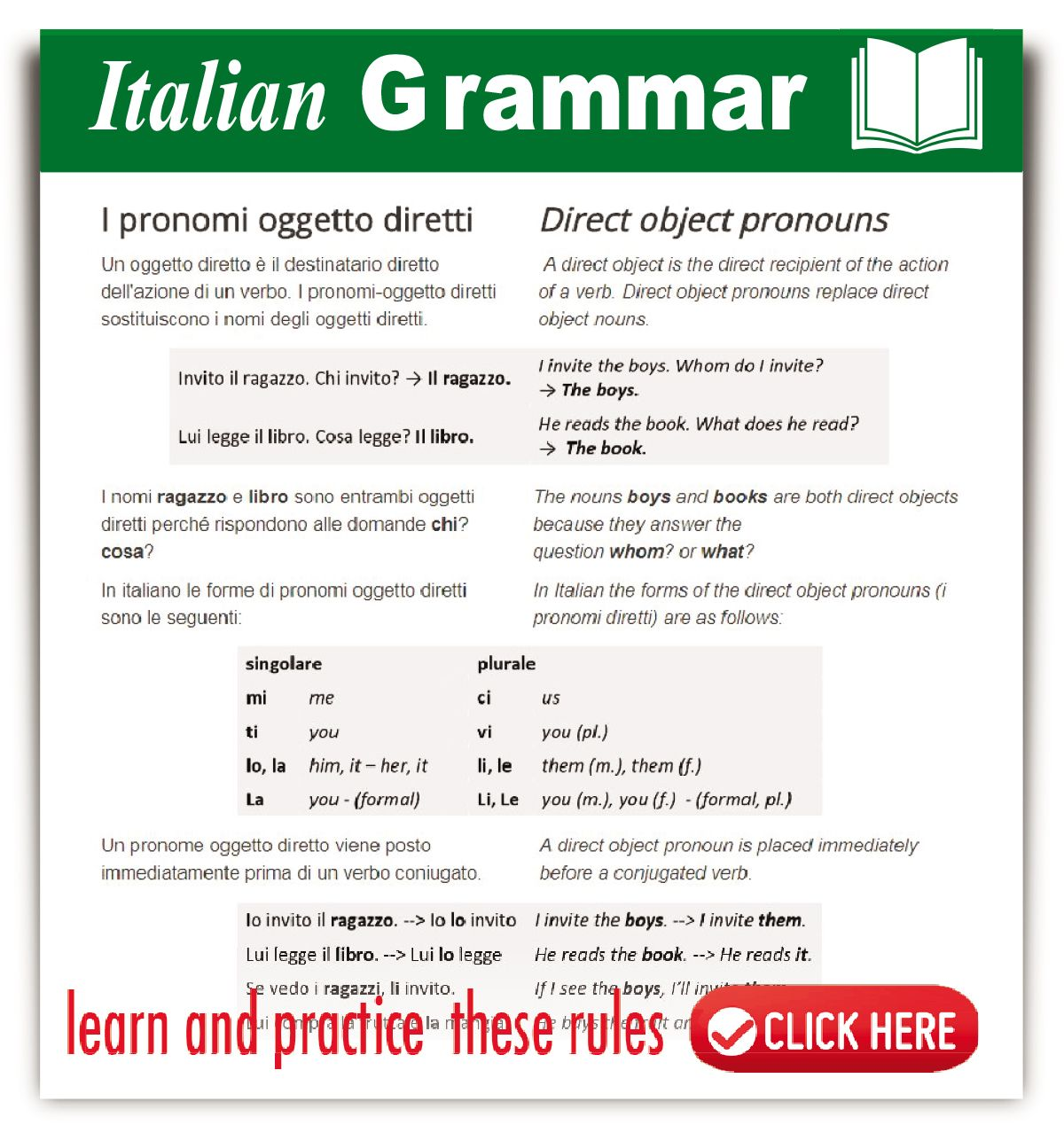 Italian Direct Object Pronouns Learnitalian Italiangrammar