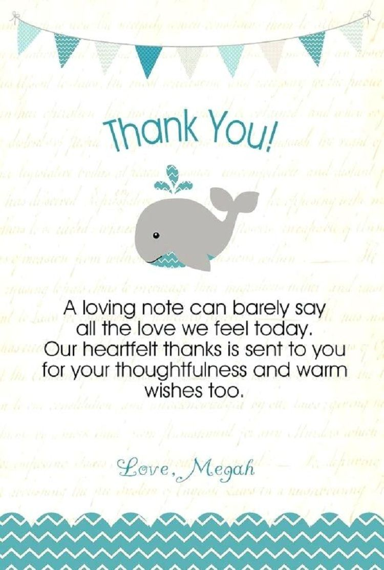Baby Shower Thank You Notes Template Invitation Card Pinterest