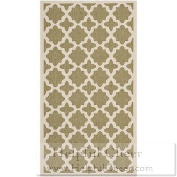 Safavieh Indoor Outdoor Courtyard Green Beige Area Rug 4 x27 x 5 x27 7 x27 x27 G- ship