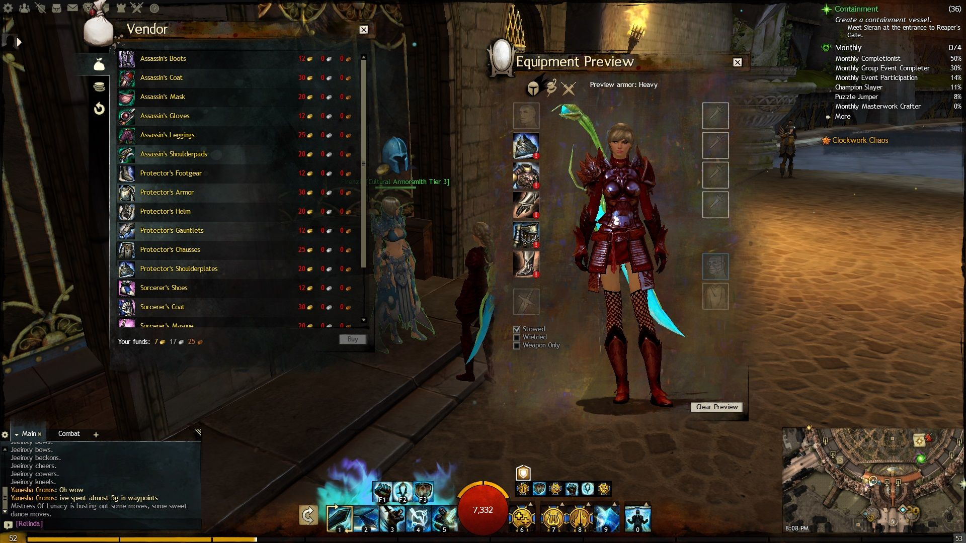 T3 shoulders, T2 chest, Draconic gloves, Barbaric leggings