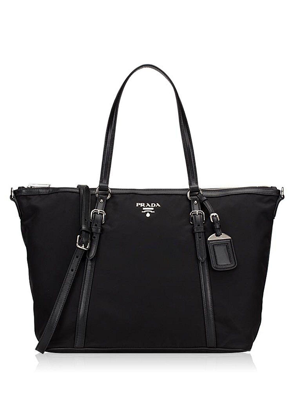 ae717301a800 Prada Tessuto Nylon Saffiano Leather Trim Top Zip Tote Bag Black Bag ...