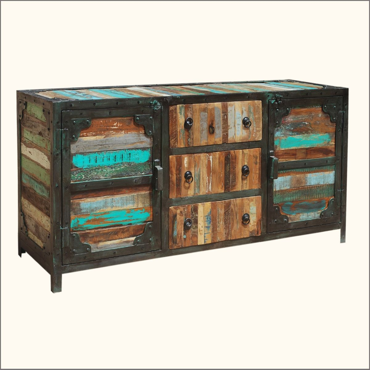 Rustic Distressed Reclaimed Solid Wood Sideboard Curio Cabinet