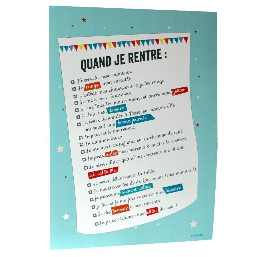 Poster regles vie cause de toi fran ais pinte - Regles de vie maison ...
