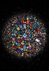 Plakat med et farvestrålende motiv på en sort baggrund.