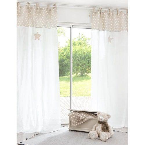 Rideau à nouettes en coton blanc/beige 110 x 250 cm PASTEL | Chambre ...