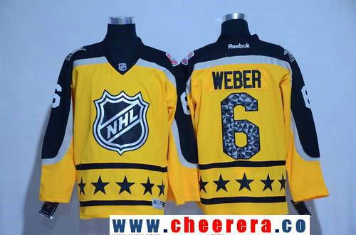 Men s Atlantic Division Montreal Canadiens  6 Shea Weber Reebok Yellow 2017  NHL All-Star Stitched Ice Hockey Jersey 86325101455