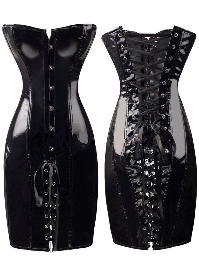 Patent leather bondage corset