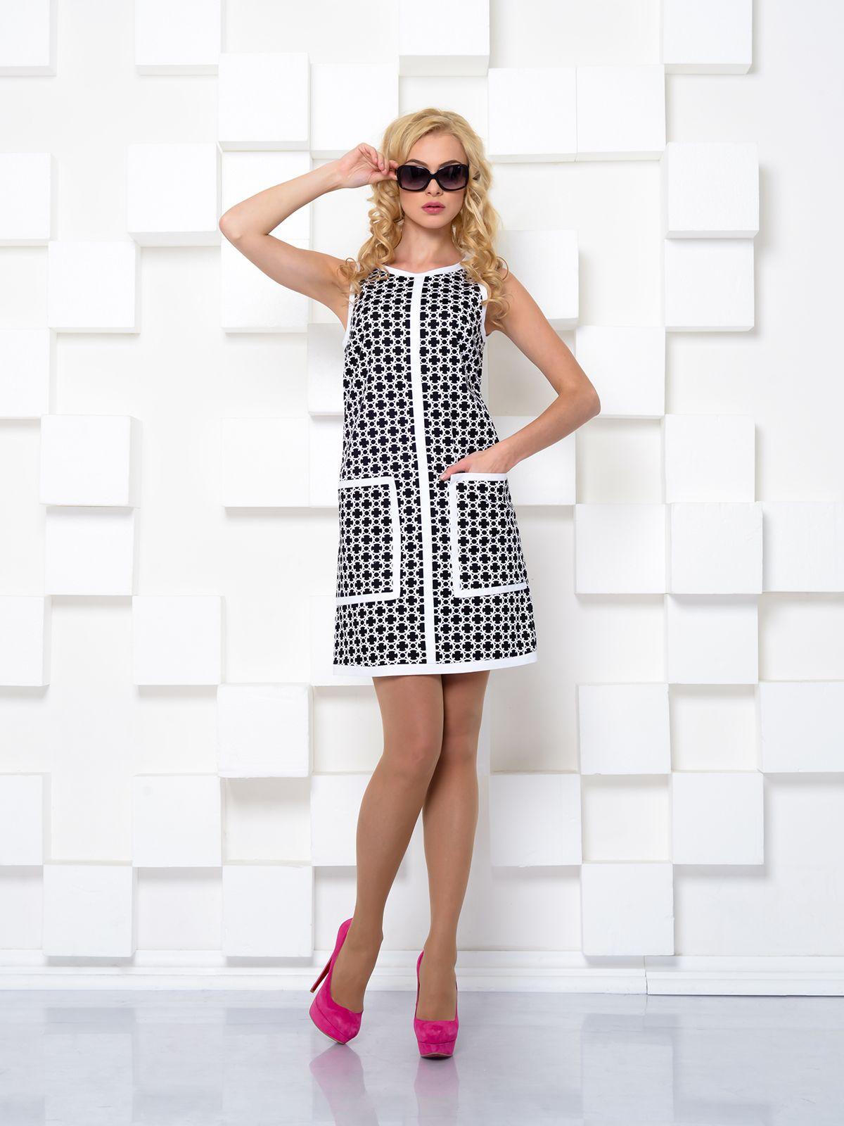 Платье черно-белое в узор - I.Klairie 7e0f716dc3