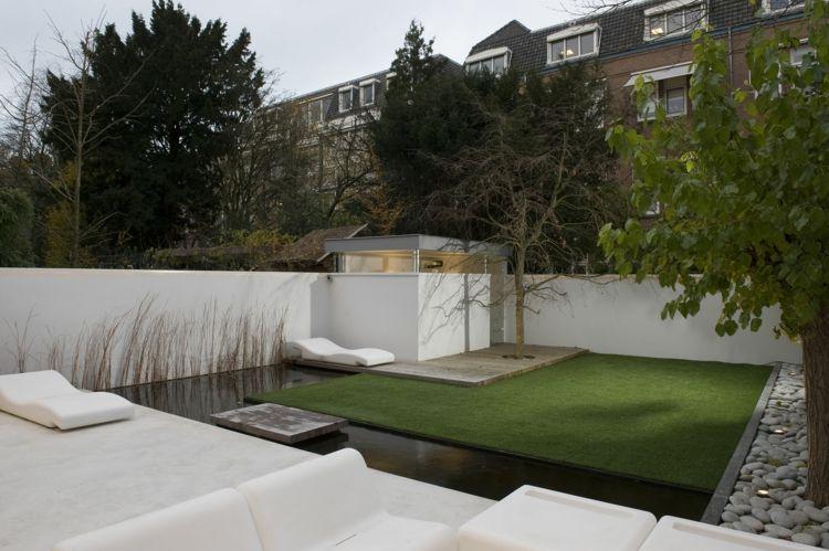 amnagement jardin paysager moderne avec coin de dtente en 80 ides
