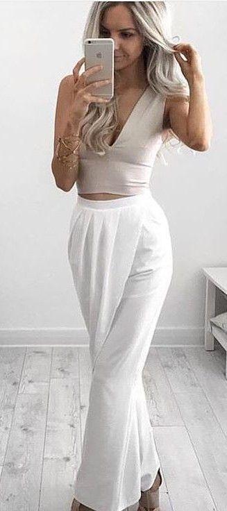 e295677690e2 #summer #australian #label #outfits | Nude Crop + White Indian Summer Pants