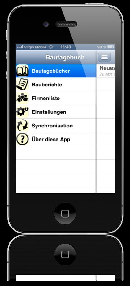Hauptmenü Bauskript App