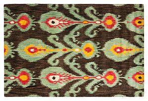 Calder Rug, Charcoal/Jade Green