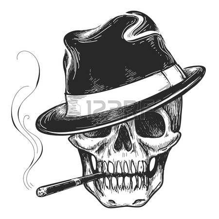 60858280 gangster tatouage cr ne t te de - Tte De Mort Pirate