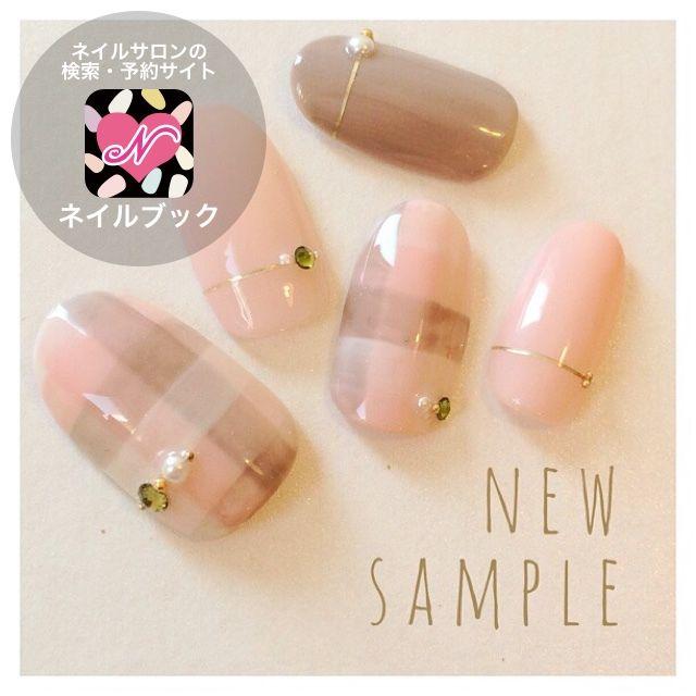 秋/ハンド/チェック/ピンク/ジェル , Latte.nailatelierのネイル