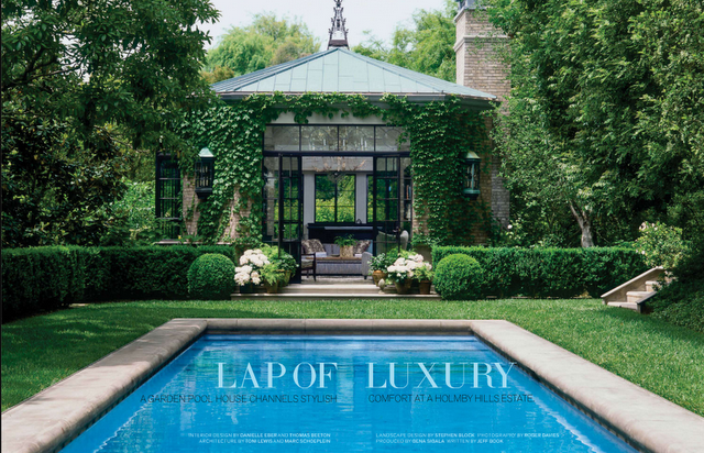 love the hedge fence around the pool and the green garden along the ...