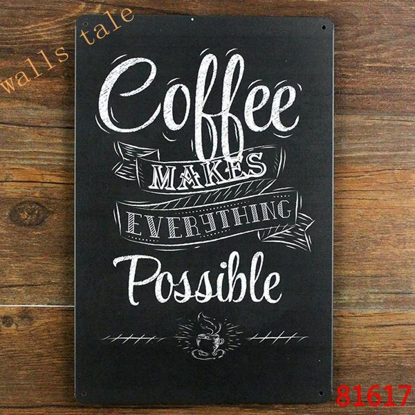 Vintage metal painted coffee wall art decoration - coffee makes ...