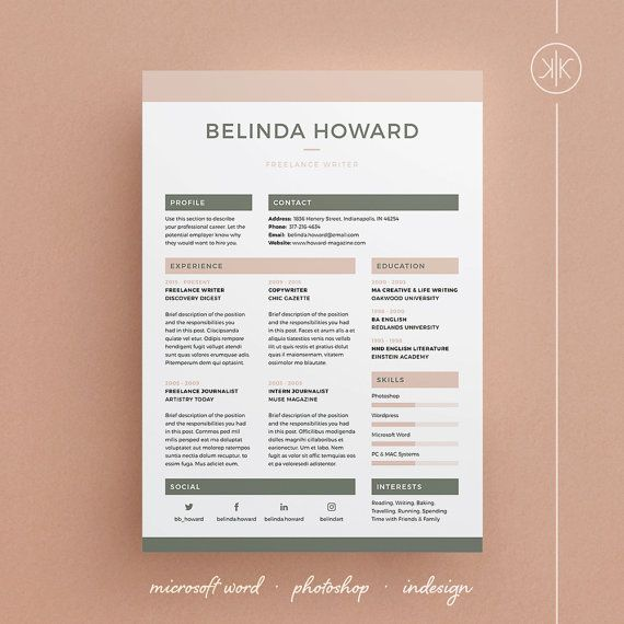 Belinda Resume\/CV Template Word Photoshop InDesign - adobe indesign resume template