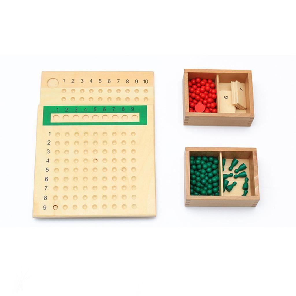 Educational Montessori Mathematics Math Bead Board Multiplication Kids Xmas Toy