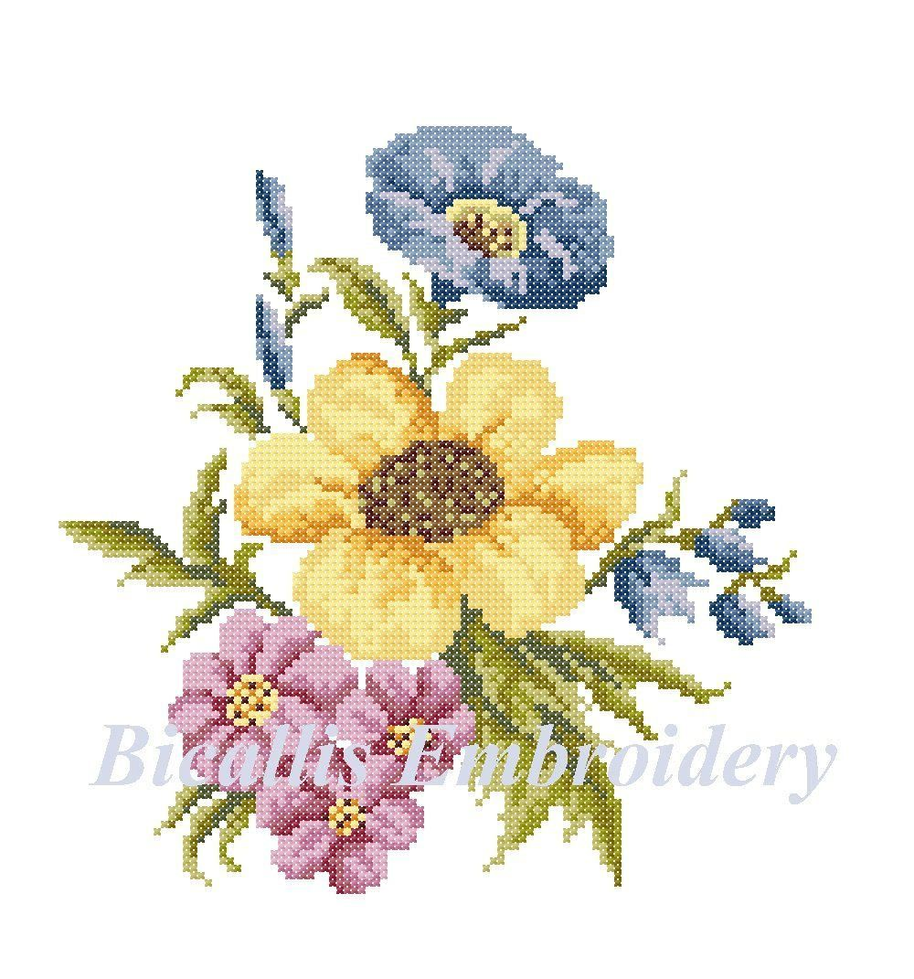 Flower bouquet cross stitch bouquet embroidery flower embroidery